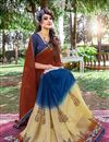 photo of Mesmerizing Blue And Brown Color Printed Saree In Georgette Fabric