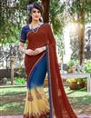 image of Mesmerizing Blue And Brown Color Printed Saree In Georgette Fabric