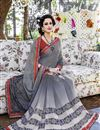 photo of Attractive Grey Color Georgette Printed Saree With Beautiful Print Designs