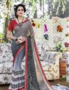 image of Attractive Grey Color Georgette Printed Saree With Beautiful Print Designs