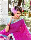 photo of Outstanding Pink Color Party Wear Printed Saree In Georgette Fabric