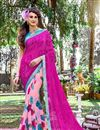 image of Outstanding Pink Color Party Wear Printed Saree In Georgette Fabric