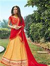 image of Yellow Color Wedding Wear Jacquard Lehenga Choli With Embroidery Work