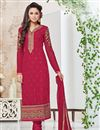 image of Designer Party Wear Pink Color Georgette Salwar Kameez With Embroidery Work