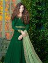 image of Designer Embroidered Georgette Party Wear Long Anarkali In Dark Green