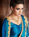 photo of Embroidered Georgette Sky Blue And Cream Saree With Fancy Lace Work