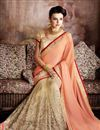 photo of Georgette Designer Salmon And Cream Saree With Lace Border Work