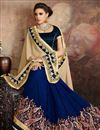 photo of Function Wear Georgette Cream And Navy Blue Saree With Lace