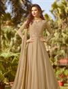 image of Party Wear Anarkali Dress In Georgette Fabric Light Brown
