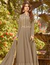 image of Georgette Fabric Dark Beige Embroidered Fancy Anarkali Dress
