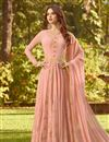 image of Salmon Color Georgette Fabric Embroidered Reception Wear Designer Anarkali Suit