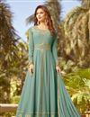 image of Dark Teal Color Georgette Fabric Fancy Party Wear Georgette Fabric Anarkali Salwar Suit