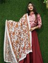 image of Fancy Fabric Traditional Wear White Color Thread Embroidered Dupatta