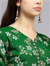 picture of Art Silk Fabric Party Wear Indo Western Readymade Suit In Dark Green