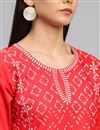 picture of Crepe Fabric Casual Party Style Red Printed Kurti
