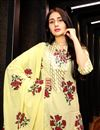 picture of Exclusive Yellow Printed Readymade Palazzo Suit