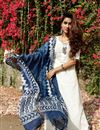 image of Exclusive White Color Readymade Kurta With Indigo Dupatta