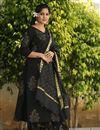 image of Exclusive Block Printed Black Color Designer Suit