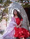photo of Exclusive Red Color Bandhej Printed Palazzo Suit