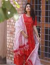 image of Exclusive Red Color Bandhej Printed Palazzo Suit