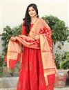 image of Exclusive Block Printed Red Palazzo Suit