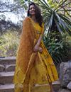 image of Exclusive Yellow Floral Kurta With Dupatta