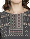 picture of Daily Wear Grey Printed Kurti In Crepe Fabric