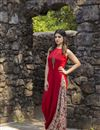 photo of Exclusive Red Color Side Cowl Style Printed Kurti