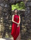 image of Exclusive Red Color Side Cowl Style Printed Kurti