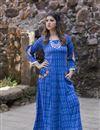 image of Exclusive Blue Color Cotton Fabric Ikkat Long Kurti
