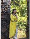 image of Exclusive Mustard Asymmetric Kurti With Dhoti