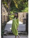 image of Exclusive Green Multi Layered Asymmetrical Dress