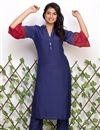 image of Exclusive Blue Color Cotton Designer Kurti With Pant