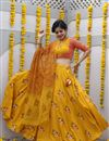 image of Exclusive Printed Occasion Wear Lehenga In Cotton Fabric Yellow Color