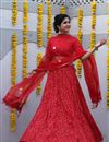 image of Exclusive Cotton Fabric Designer Printed Lehenga Choli In Red Color With Alluring Blouse