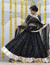 image of Exclusive Cotton Fabric Black Color Festive Wear Printed Chaniya Choli With Beautiful Blouse