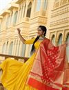 image of Exclusive Occasion Wear Rayon Fabric Printed Lehenga In Yellow Color With Designer Blouse