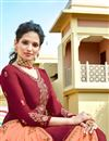 photo of Eid Special Maroon Color Embroidery Work On Party Wear Satin Georgette Fabric Sharara Top Lehenga