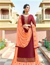 image of Eid Special Maroon Color Embroidery Work On Party Wear Satin Georgette Fabric Sharara Top Lehenga