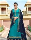 image of Eid Special Designer Sharara Top Lehenga With Embroidery Work In Sky Blue Color Satin Georgette Fabric