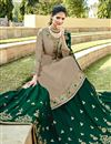 photo of Embroidery Work On Dark Beige Color Designer 3 Piece Sharara Top Lehenga In Satin Georgette Fabric