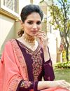 photo of Eid Special Satin Georgette Fabric Festive Wear Sharara Top Lehenga In Purple Color With Embroidery Work
