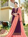 image of Eid Special Satin Georgette Fabric Festive Wear Sharara Top Lehenga In Purple Color With Embroidery Work
