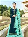 image of Eid Special Embroidery Work On Navy Blue Color Party Wear Satin Georgette Fabric 3 Piece Sharara Top Lehenga