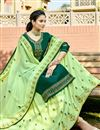 photo of Satin Georgette Fabric Dark Green Color Designer Embroidery Work On Sharara Top Lehenga