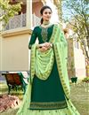 image of Satin Georgette Fabric Dark Green Color Designer Embroidery Work On Sharara Top Lehenga