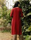 photo of Exclusive Red Color Round Neck Embroidered Kurta With Bottom