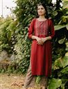 image of Exclusive Red Color Round Neck Embroidered Kurta With Bottom