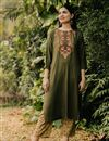 image of Exclusive Mehendi Green Color Round Neck Embroidered Kurta With Bottom