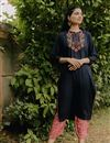 image of Exclusive Navy Blue Color Round Neck Embroidered Kurta With Bottom